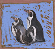 Beach Prints Pastels Prints - Tye Dye Penguins Print by Jane Wilcoxson