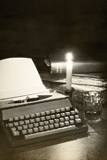 Antique Books Prints - Typewriter by candlelight Print by Christopher and Amanda Elwell