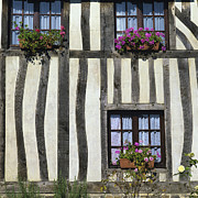 Exteriors Framed Prints - Typical house  half-timbered in Normandy. France. Europe Framed Print by Bernard Jaubert