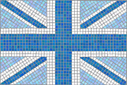 Mosaic Framed Prints - Union Jack blue Framed Print by Jane Rix