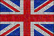 White Prints - Union Jack mosaic Print by Jane Rix