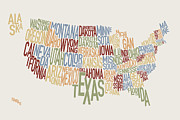 Font Map Digital Art Prints - United States Text Map Print by Michael Tompsett