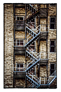 Blue Brick Digital Art Prints - Urban Steps Print by Perry Webster