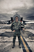 Full-length Portrait Prints - U.s. Air Force Pilot Standing In Front Print by Terry Moore