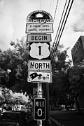 Mile Marker Posters - Us Route 1 Mile Marker 0 Start Of The Highway Key West Florida Usa Poster by Joe Fox