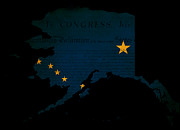 Declaration Of Independence Prints - USA American Alaska State Map outline with grunge effect flag Print by Matthew Gibson