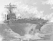 Transportation Drawings Originals - USN Aircraft Carrier Abraham Lincoln by Jim Hubbard