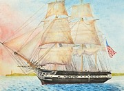 Constitution Paintings - USS Constitution Passes Cape Henry with Orders to Capture or Destroy by Carl Hartsfield
