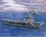 Carrier Paintings - Uss Roosevelt by Sarah Howland-Ludwig
