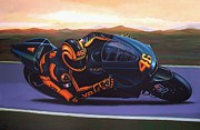 Motorcycle Painting Posters - Valentino Rossi on Ducati Poster by Paul  Meijering
