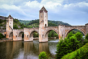 Medieval Posters - Valentre bridge in Cahors France Poster by Elena Elisseeva