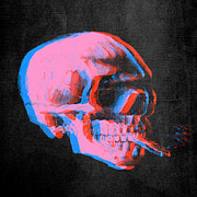 Adaptation Prints - Van Gogh Skull with burning cigarette remixed 2 Print by Filippo B