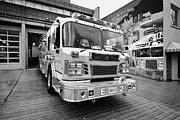 Rescue Station Framed Prints - Vancouver fire rescue services truck engine outside hall 2 in downtown eastside BC Canada Framed Print by Joe Fox