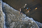 Spiritual Being Prints - Varkala, Hindu Rituals On The Beach Print by Nicolas Chorier