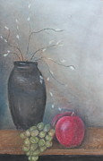 Harvest Pastels Metal Prints - Vase and Fruit Metal Print by Cathy Lindsey