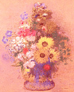 Floral Prints Prints - Vase of Flowers  Print by Odilon Redon