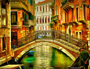 Gondolier Digital Art Framed Prints - Venice Bridges 2 Framed Print by Yury Malkov