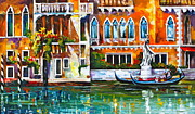 Waterscape Painting Posters - Venice Canal Poster by Leonid Afremov