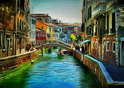 Gondolier Framed Prints - Venice Canals 11 Framed Print by Yury Malkov