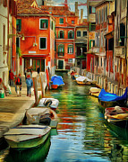 Gondolier Digital Art Framed Prints - Venice Canals 15 Framed Print by Yury Malkov