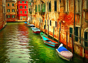 Gondolier Framed Prints - Venice Canals 3 Framed Print by Yury Malkov