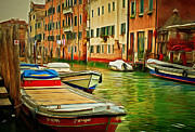 Gondolier Framed Prints - Venice Canals 4 Framed Print by Yury Malkov
