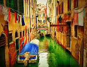 Gondolier Framed Prints - Venice Canals 8 Framed Print by Yury Malkov