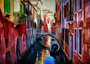 Gondolier Framed Prints - Venice Canals 9 Framed Print by Yury Malkov