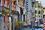 Gondolier Framed Prints - Venice Canals Watercolor 6 Framed Print by Yury Malkov