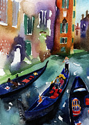 Gondolier Paintings - Venice Gondolas by Lydia Irving