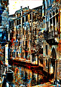 Canal Digital Art - Venice in Grunge by Greg Sharpe