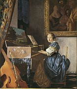 Virginal Framed Prints - Vermeer, Johannes 1632-1675. A Young Framed Print by Everett