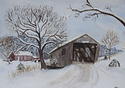 Covered Bridge Painting Metal Prints - Vermont Covered Bridge in Winter Metal Print by Donna Walsh