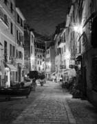 Vernazza; Cinque Terre; Italy; City Lights; Europe; Night; Cobbled Street; Boat; Evening; Black And White; Black And White Photos; Black And White Photography Photos - Vernazza Italy by Carl Amoth