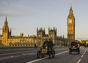 Rally Pastels Posters - Veteran Cars on Westminster Bridge in London Poster by Philip Pound