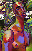 African American Male Painting Posters - Victor in the Forest Poster by Douglas Simonson