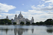 Print Pyrography Prints - Victoria Memorial Reflection of the Past Print by Debrup Chatterjee