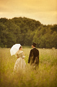 Husband Waiting Framed Prints - Victorian Couple In A Summer Meadow Framed Print by Lee Avison