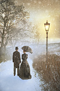 Men Conversing Framed Prints - Victorian Couple Parting In Mist And Snow Framed Print by Lee Avison