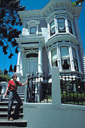 Doorsteps Posters - Victorian House in San Francisco Poster by Carl Purcell