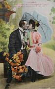 Patricia Hofmeester - Victorian kissing under an umbrella