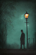 Victorian Man Standing Next To An Illuminated Gas Lamp Print by Lee Avison