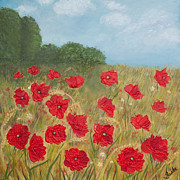 Poppies Field Paintings - Victorious 2 by Sasha Moye