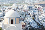 Greece Photos - View of Fira with famous church Santorini Greece by Matteo Colombo