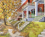 Fall Leaves Posters - View Up the Street Poster by Edward Farber