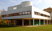 Modernism Framed Prints - Villa Savoye - Le Corbusier Framed Print by Peter Cassidy
