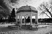 Sask Prints - vimy memorial bandshell in snow covered kiwanis memorial park downtown Saskatoon Saskatchewan Canada Print by Joe Fox