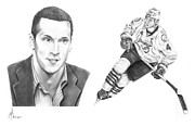 Sports Portrait Drawings Drawings - Vincent Lecavalier by Murphy Elliott