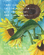 Texture Painting Prints - Vinces Sunflowers 1 Print by Debbie DeWitt