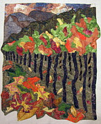 Fabric Collage Tapestries Textiles Posters - Vineyard in Autumn Poster by Lynda K Boardman